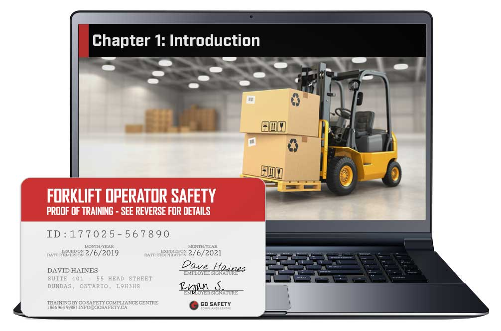 Screen shot and Certificate from the Forklift Operator Safety Course